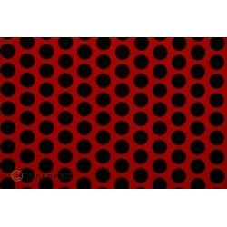 OR-45-023-071-002 Oracover - Orastick - Fun 1 (16mm Dots) Ferrari Red + Black ( Length : Roll 2m , Width : 60cm )