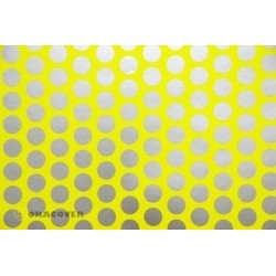 OR-45-031-091-002 Oracover - Orastick - Fun 1 (16mm Dots) Fluorescent Yellow + Silver ( Length : Roll 2m , Width : 60cm )