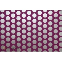 OR-45-054-091-002 Oracover - Orastick - Fun 1 (16mm Dots) Violet + Silver ( Length : Roll 2m , Width : 60cm )