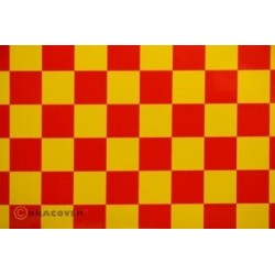 OR-47-033-023-002 Oracover - Orastick - Fun 3 (25mm Square) Yellow + Red ( Length : Roll 2m , Width : 60cm )