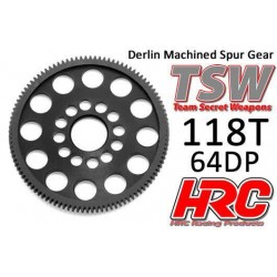 HRC764118LW Couronne - 64DP - Delrin Low Friction usiné - Ultra Light - TSW Pro Racing – 118D