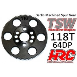 HRC764118T Couronne - 64DP - Delrin Low Friction usiné - TSW Pro Racing – 118D