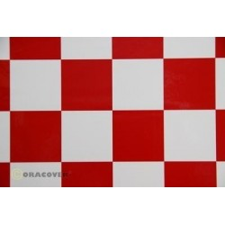 OR-491-010-023-002 Oracover - Fun 5 (52mm Square) White - Red ( Length : Roll 2m , Width : 60cm )