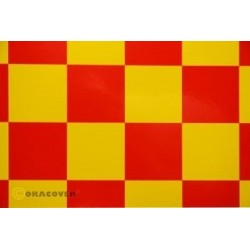 OR-491-033-023-002 Oracover - Fun 5 (52mm Square) Yellow - Red ( Length : Roll 2m , Width : 60cm )