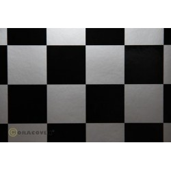 OR-491-091-071-002 Oracover - Fun 5 (52mm Square) Silver - Black ( Length : Roll 2m , Width : 60cm )