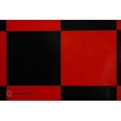 OR-691-023-071-002 Oracover - Fun 6 (104mm Square) Red - Black ( Length : Roll 2m , Width : 60cm )