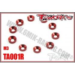 TA001R Rondelles cuvettes M3 rouges (10)