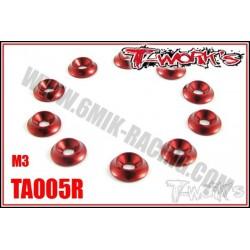 TA005R Rondelles cuvettes larges M3 rouges (10)