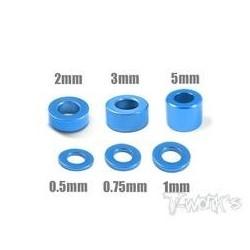 TA012B Entretoises alu M3 bleues 0.5, 0.75, 1, 2, 3, 5mm (4 de chaque)