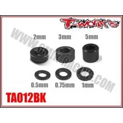 TA012BK Entretoises alu M3 noires 0.5, 0.75, 1, 2, 3, 5mm (4 de chaque)