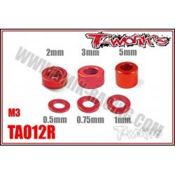 TA012R Entretoises alu M3 rouges 0.5, 0.75, 1, 2, 3, 5mm (4 de chaque)