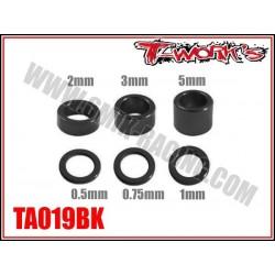 TA019BK Entretoises alu M4 noires 0.5, 0.75, 1, 2, 3, 5mm (4 de chaque)