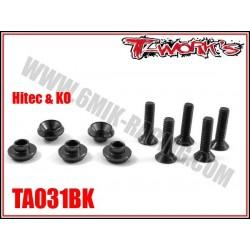TA031BK Rondelles alu de servo Hitech / Ko noires (5)