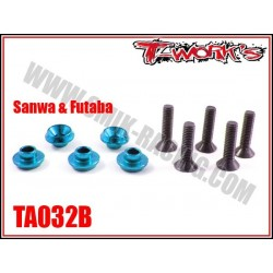TA032B Rondelles alu de servo Sanwa / Futaba bleues (5)