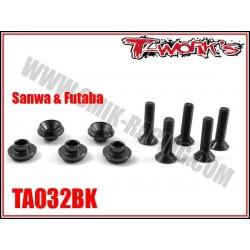 TA032BK Rondelles alu de servo Sanwa / Futaba noires (5)
