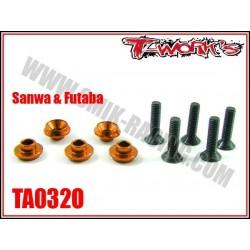 TA032O Rondelles alu de servo Sanwa / Futaba oranges (5)