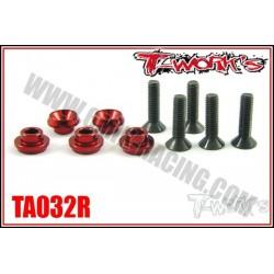 TA032R Rondelles alu de servo Sanwa / Futaba rouges (5)