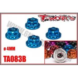 TA083 Ecrous de roue 1/10 allégées et anodisé Bleu, Noir, Orange, Rouge,Purple et Silver (4)