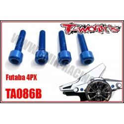 TA086B Kit de visserie alu anodisé bleu pour Futaba 4PX