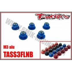 TASS3FLN Ecrous nylstop épaulés M3 alu Bleu, Noir, Orange et Rouge (5 pcs)