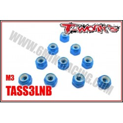 TASS3LNB Ecrous nylstop M3 alu Bleu, Noir, Oranges et Rouges (10 pcs)