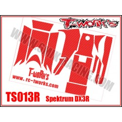 TS013R Stickers 3D carbone rouge pour Spektrum DX3R