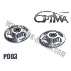 PO03 Rondelles d'aileron allégée en Aluminium ou Noir (2 pcs)
