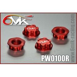 PW0100R Ecrous de roues Borgnes rouge (4 pcs)