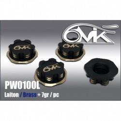 PW0100L Ecrous de roues Borgnes en Laiton + 7gr (4 pcs)
