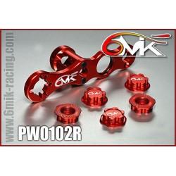 PW0102R Clef à roue + 5 écrous borgnes rouge