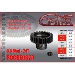 POCBE Pignon moteur 24T, 25T et 26T / Mod 0.8 pour BRUSHLESS 1/8