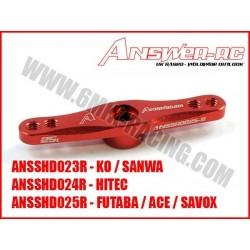 ANSSHD023R Palonnier de servo Double en alu Rouge pour KO / SANWA