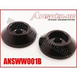 ANSWW001B Rondelles d'aileron 1/8 en alu noir (2 Pcs)