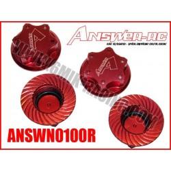 ANSWN0100R Ecrous de roue borgne 1,0mm Rouge: Crono, Kyosho, Mugen, Losi… (4 Pcs)