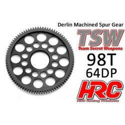 HRC76498LW Couronne - 64DP - Delrin Low Friction usiné - Ultra Light - TSW Pro Racing - 98D