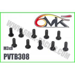 PVTB308 Vis acier tête bombée M3x8 (10 pcs)