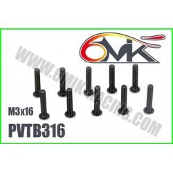 PVTB316 Vis acier tête bombée M3x16 (10 pcs)