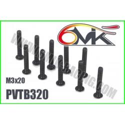 PVTB320 Vis acier tête bombée M3x20 (10 pcs)