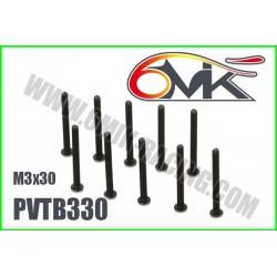 PVTB330 Vis acier tête bombée M3x30 (10 pcs)