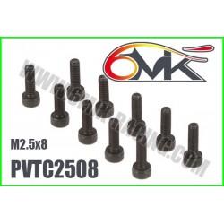 PVTC2508 Vis acier tête cylindrique M2,5x8 (10 pcs)