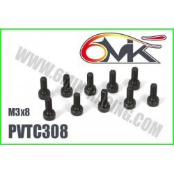 PVTC308 Vis acier tête cylindrique M3x8 (10 pcs)