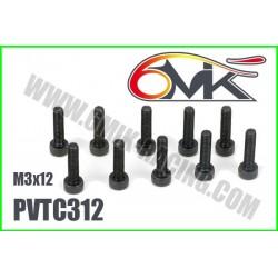 PVTC312 Vis acier tête cylindrique M3x12 (10 pcs)
