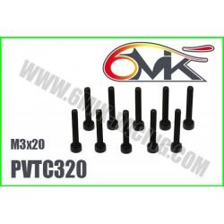 PVTC320 Vis acier tête cylindrique M3x20 (10 pcs)