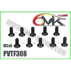 PVTF308 Vis acier tête fraisée M3x8 (10 pcs)
