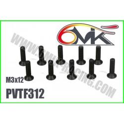 PVTF312 Vis acier tête fraisée M3x12 (10 pcs)