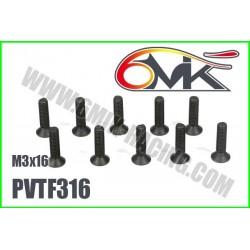 PVTF316 Vis acier tête fraisée M3x16 (10 pcs)