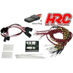 HRC8701 Set d'éclairage - 1/10 TC/Drift - LED - Prise JR - Set pour voiture complète - Controlé par l'émetteur
