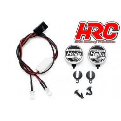 HRC8723A2 Set d'éclairage - 1/10 ou Monster Truck - LED - Prise JR - Hella Cover - 2x LED Blanches