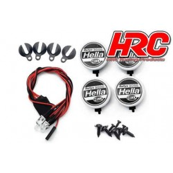 HRC8723A4 Set d'éclairage - 1/10 ou Monster Truck - LED - Prise JR - Hella Cover - 4x LED Blanches