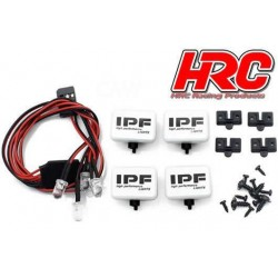 HRC8723B4 Set d'éclairage - 1/10 ou Monster Truck - LED - Prise JR - IPF Cover - 4x LED Blanches